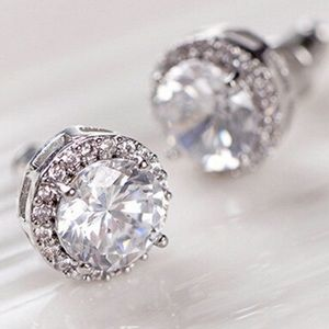 White Gold Plated Crystal Zicron Stud Earrings